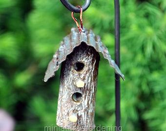 Woodland Bird House with Hook for Miniature Garden, Fairy Garden