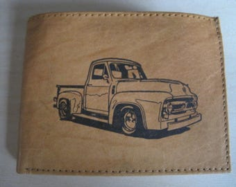 "Mankind Wallets Men's Leather RFID Blocking Billfold w/ ""1950's Ford F100 Truck"" Image~Makes a Great Gift!"