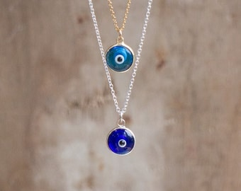 Gold Evil Eye Necklace, Evil Eye Necklace, Silver or Gold Layering Necklace, Protection Jewelry, Blue Evil Eye Pendant, Evil Eye Jewellery