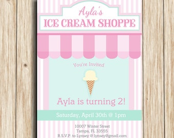 "Ice Cream Pastel Invitation Digital File: ""ICE CREAM INVITATION"" with pink, mint, aqua, stripe ice cream cone, ice cream shop printable"