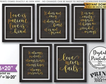 """Love is Patient Love is Kind, Wedding Aisle, 1 Corinthians 13, Set of 5 Wedding Signs, 16x20"""" Chalkboard Style Printable Instant Downloads"""