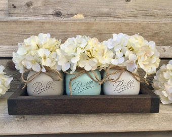 Rustic Tray With 3 Painted Mason Jars, Farmhouse Living Room Decor,  Farmhouse Table Decor