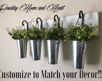 Hanging Planters, Hanging Buckets with Greenery, Curled Hook Planter With Galvanized Vases and Greenery, Boxwood, Farmhouse Hanging Planter