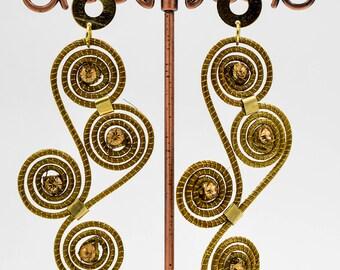 Golden grass Arabesque earrings, Organic earings, golden grass jewelry, Romantic jewelry, Bohemian earrings, Gifts for her, boho chic