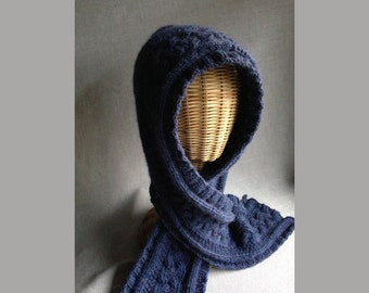 Alpaca Hooded Scarf - Hand-knit - with Celtic Cables - Denim Blue