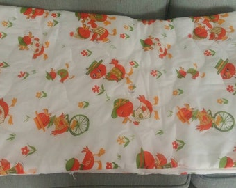 VINTAGE Toddler size sleeping bag duck friends unicycles flowers dancing blanket snuggles playtime reading time camping