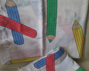 Vintage pencil crayon pillowcases , 1980 , primary colors , pencils , coloring , red , blue , yellow , green