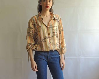 Vintage Words Pattern Button Up Slouchy Blouse