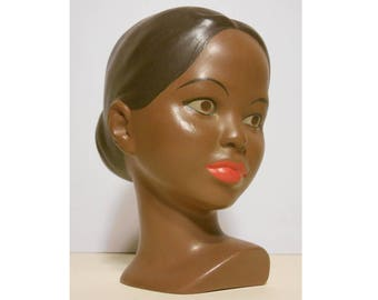Vintage 1970 Hand-Painted Chalk Figure of a Young Woman