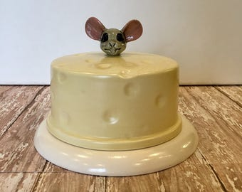 Vintage Cheese Plate, Mouse Cheese Plate, Covered Cheese Plate, Cheese Serving Tray, Mouse Decor