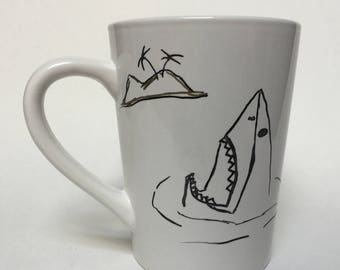 Shark Stepping On A Lego Mug