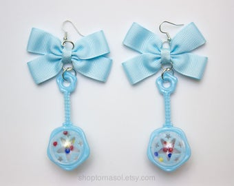 Blue Baby Rattle Earrings - Crybaby Earrings - Pastel Blue Baby Rattle - Plastic Kitsch Earrings - Plastic Baby Rattle - Blue Kitsch Jewelry