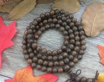 Natural 6mm Tiger Skin Wood Beads Rosewood Japa Mala Yoga Bracelet Women Men Buddha Necklace