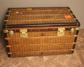 1870's Louis Vuitton Striped Canvas Steamer Trunk