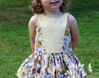 Toddler Girls Peplum top made with Beauty and The Beast Fabric- Beauty and the Beast outfit- Birthday outfit- size 2t, 3t, 4t, 5t, 6, 7, 8