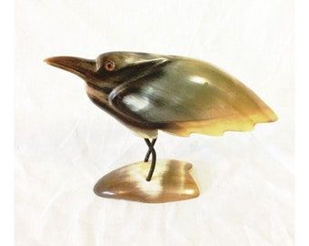 Vintage Mid Century Carved Bird Made From Animal Horn