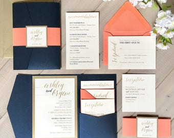 Navy, Coral And Gold Wedding Invitations, Navy And Coral Wedding Invitations,  Navy And