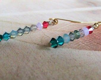 Multicolor Swarovski Crystal Earrings, Blue Aqua Pink Crystal Earrings, Ombre Crystal, Shaded, Summer Swarovski, Beach, Summer Outdoors