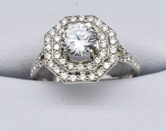 Platinum & Diamond Semi Mount Engagement Ring weighing 4.4 grams