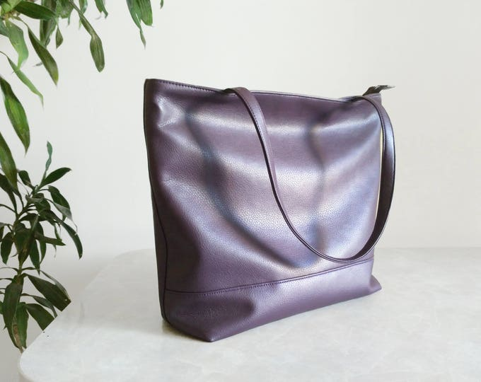 Dark purple Large tote bag Vegan purse Handbag plum Organizer tote bag Designer handbags
