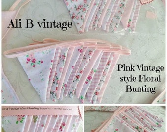 pink floral bunting vintage style bunting double sided bunting vintage floral bunting pink flower bunting  nursery bunting garden decor