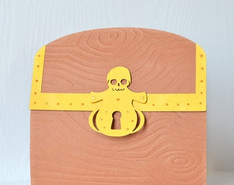 Pirate's Treasure Invitation: birthday party, kids party, pirate party, sailing, shipwreck, plunder, booty, pirate gems, gold, box - LRD041P