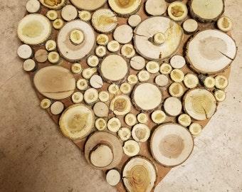 Wood Slice Heart - Large