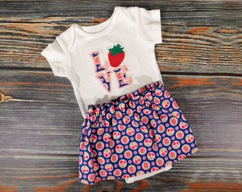 Handmade & Appliqued Strawberry Onesie/Skirt outfit