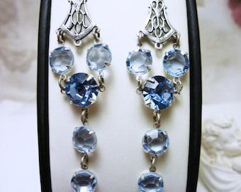 """Long Dangling Earrings Silver plated jewelry Drop Earrings Blue Crystal Earrings Birthstone Jewelry Czech crystal """"Grace"""""""
