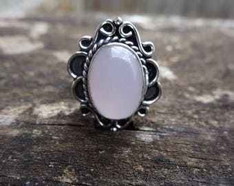 Sterling Silver Natural ROSE Quartz RING Size 8 - Sterling Silver Ring - Gemstone Ring - Rose QUARTZ - Natural Stone Ring -