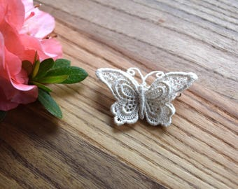 Vintage Crochet Lace Butterfly Pin