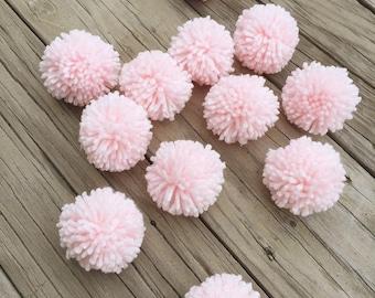 12 Soft Pink Yarn Pom Poms, Craft Supplies, Party Decor