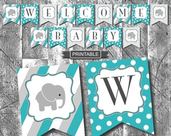 Teal Green Grey Chevron Elephant Baby Shower Decorations Banner Bunting Flags Digital Printable PDF Instant Download-Welcome Baby