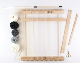 """14"""" Beginners Frame Loom Weaving Kit / Everything you need to make your own woven wall hanging / Gray"""