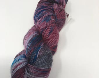 Indie Dyed Yarn on Merino cashmere Nylon MCNpurple blue semi solid