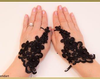 Black Gloves Wedding Gloves Lace Gloves Party Gloves Fingerless Gloves Bridal Gloves Formal Gloves Evening Gloves