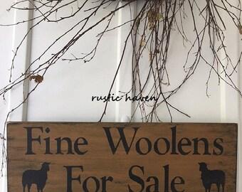 "Primitive Wooden Woolen Sign~Fine Woolens for Sale~ 7.25"" x 24"""