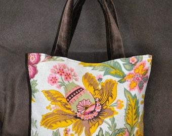 Floral Handbag with Velvet handles