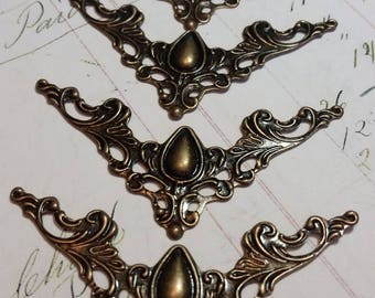 Filigree Metal Book Corners, Antique Bronze- For use on Altered Books, Junk Journals, Mixed Media