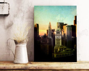 Cityscape, Vintage Painting, Digital Mixed Media, Wood Panel Painting, In The City, Wall Art Prints