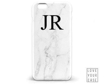 1453 // White Marble Texture Monogrammed Initials Name Phone Case iPhone 5 5S 6 6S,Samsung Galaxy S5 S6, Samsung Galaxy S7 Edge Plus