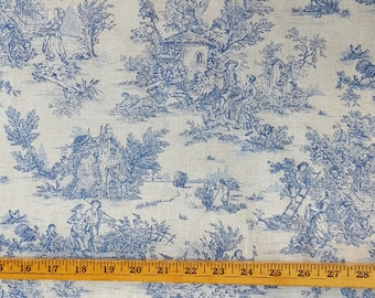 "French Blue Pastoral small-scale toile fabric (60"" wide), sold by the HALF yard"