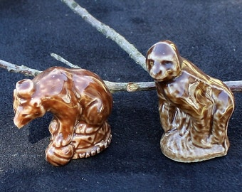 Wade Porcelain Miniature Animal Figurines - Circus Bear and Gorilla