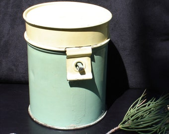 Round Tin Canister with Hinged Lid - Green and Creamy Yellow - 1890's Kitchenalia