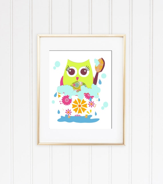 Kids Bathroom Wall Decor Printable Bathroom Art Owl