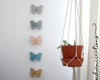 6 origami Butterfly Garland / / wall decor / / deco Origami / / spring decor / / unique