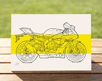 "Yamaha R1 Motorcycle Gift Card, Yellow Colourblock Design | A6 Measures: 6"" x 4"" / 103mm x 147mm 