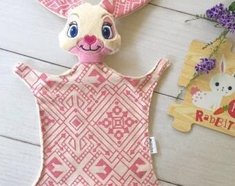 Bunny Lovie Lovey Baby Blanket Snuggly wrapn2lah Easter Rabbit Cuddly Ankalia Gatsby Rose Wrap Scrap Handmade