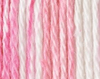 Bernat Handicrafter Cotton Yarn-- Pinky Stripes -- 1.5 Ounce Skein  --  4 Skeins -- 100% Cotton