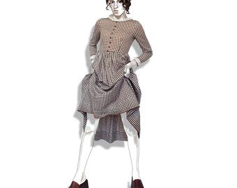 Brown gingham prairie dress with lace collar and cuffs!